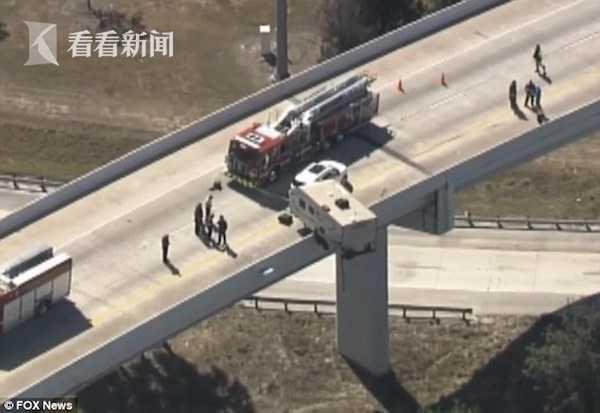 视频|惊悚!高架上发生车祸 房车被悬在半空中