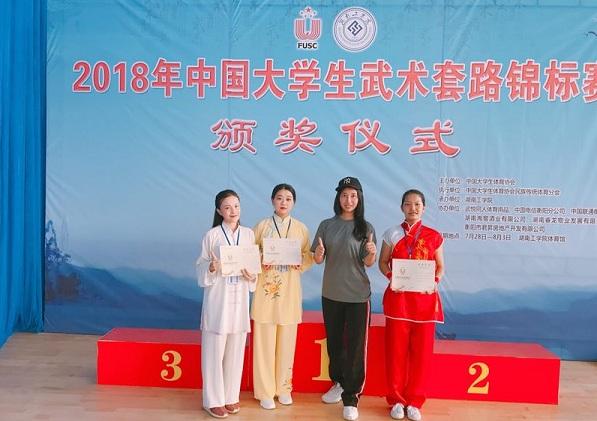 由体育部教师刘和臣,王晓梅担任教练的东北大学武术队首次参加此项图片