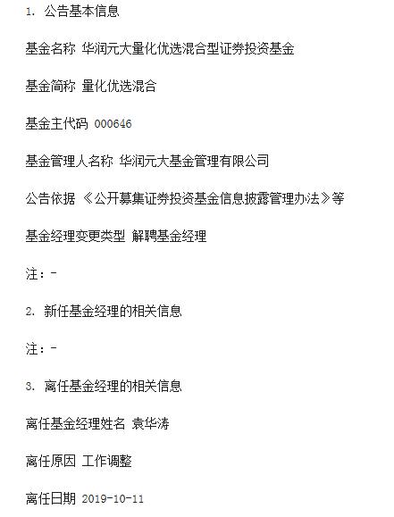 袁华涛离任华润元大量化优选基金经理职位 陈剑波管理
