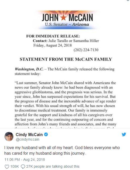 麦凯恩的妻子发表声明