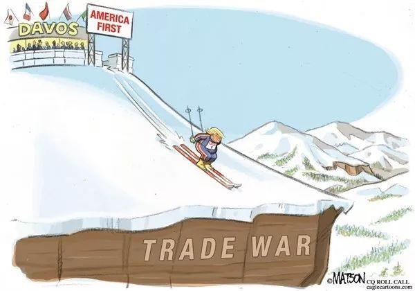 """▲[不归路]在达沃斯世界经济论坛上,美国总统特朗普从""""美国优先""""的横幅出发,踩着滑雪板冲向""""贸易战""""的深渊。(美国政治漫画网)"""