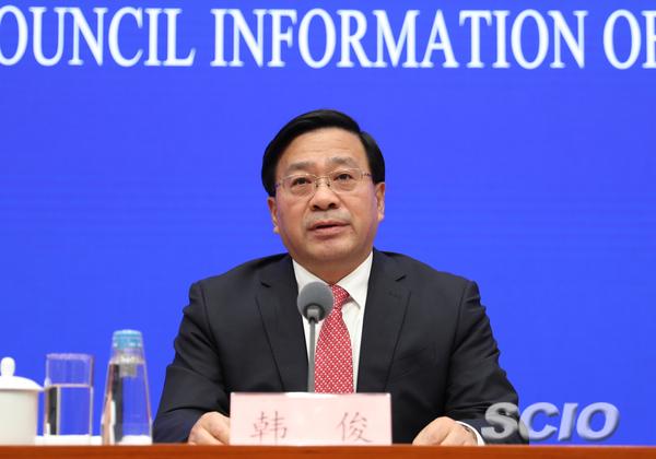 中央农办副主任、农业农村部副部长韩俊。 国新网 图
