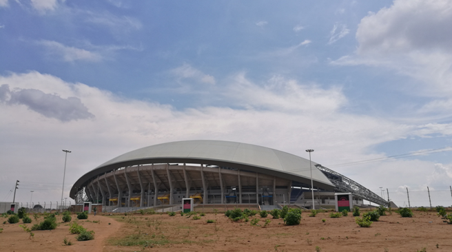 中国援建的宾古国家体育场。