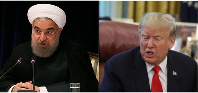 伊朗总统鲁哈僧取好国总统特朗普。(外洋网拼图)