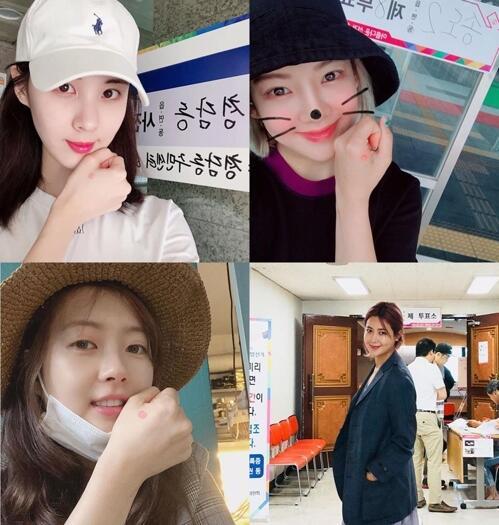 图注:韩国艺界人士晒出投票照