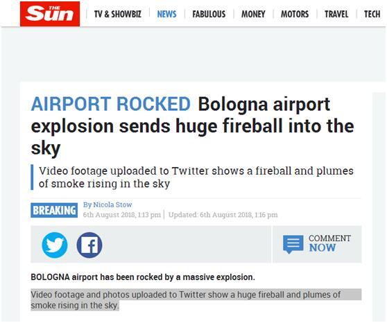 意大利博洛尼亚一机场发生爆炸 火球冲天