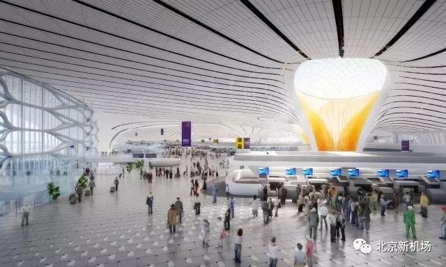 图:北京大兴国际机场航站楼内景效果图,来源:北京新机场微信公众号