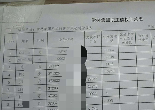 常林集团职工债权汇总表首页,姓名为英文字母的外籍人士仅有钟默、怯军两人。