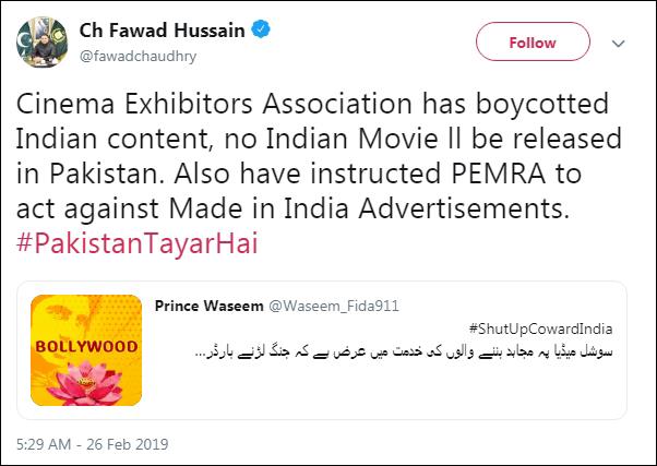 乔杜里转发了巴基斯坦网友呼吁抵制印度电影与歌曲的推文