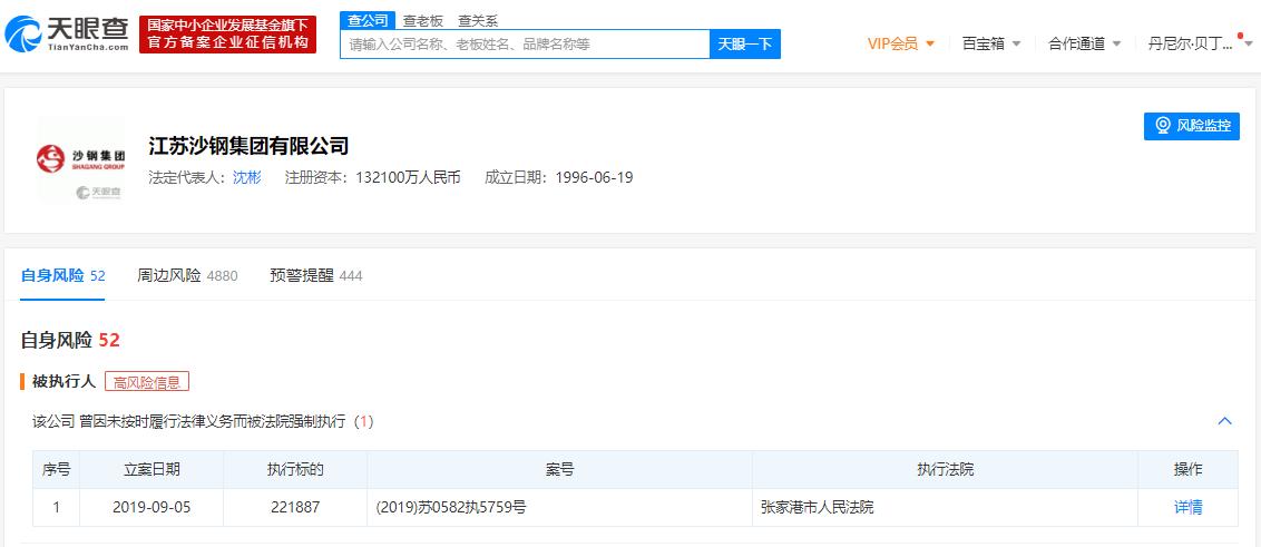 中国最大民营钢铁企业江苏沙钢集团 被列为被执行人