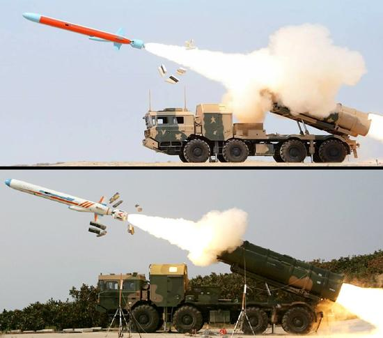 Zarb导弹(上)与中国原装的鹰击62(下)比较图