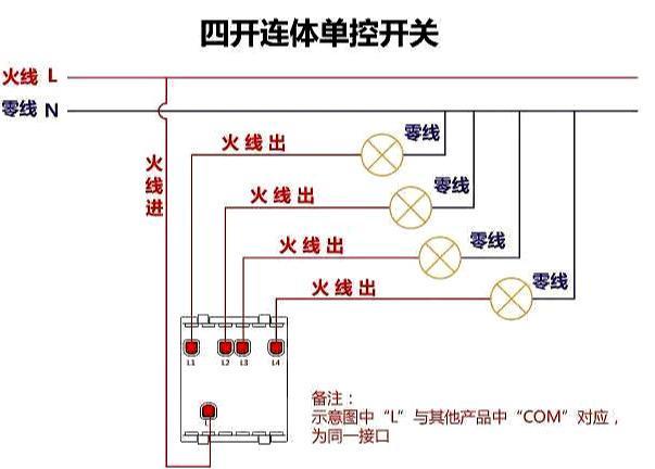 四开连体单控开关接线图