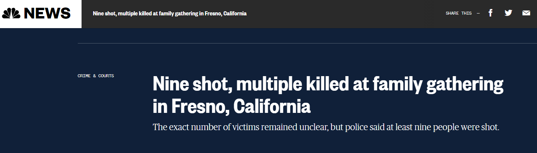 美国加州一家庭聚会上发生枪击事件:9人中枪,多人死亡