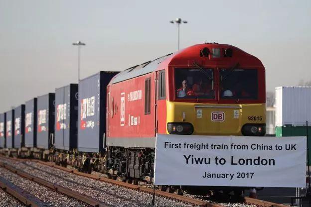 """▲资料图片:2018-07-19,来自中国义乌的""""东风号""""列车抵达英国伦敦东部的货场。(盖帝图像)"""