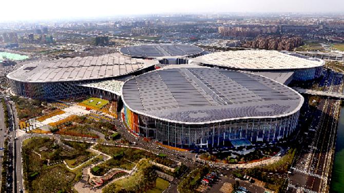 ▲首屆中國國際進口博覽會舉辦場地——國家會展中心(上海)。 圖/新華社