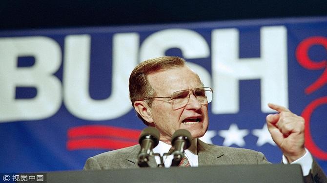 ▲2018年11月30日,美國第41任總統喬治·赫伯特·沃克·布什去世,享年94歲。圖片來自視覺中國