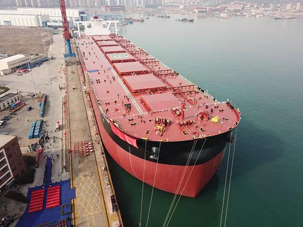 世界最大40万吨超大型矿砂船ore tianjin号在武船集团北船重工