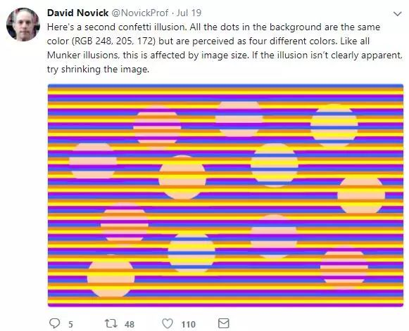 """美国教授推出""""光学幻觉测试""""  彩色横条上五颜六色圆圈竟是一个颜色"""