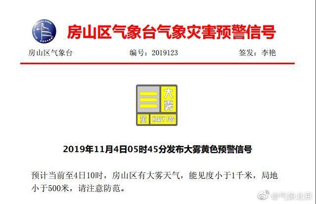 北京房山通州发布大雾黄色预警 能见度小于1千米bt