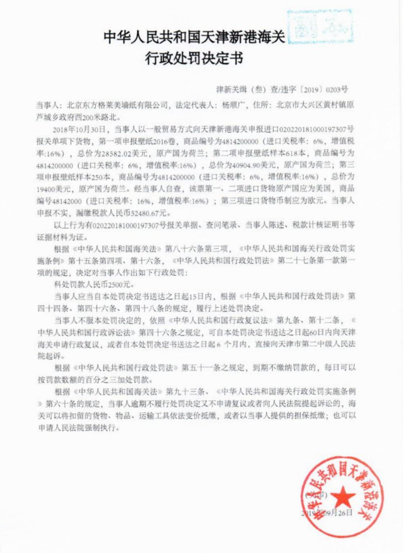 进口货物申报不实,格莱美墙纸被天津海关处罚