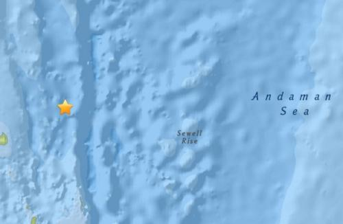 安达曼海域发生5.0级地震 震源深度100.5公里