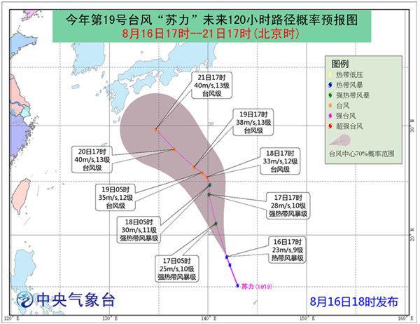 """台风""""苏力""""强度渐强 未来三天对我国海区无影响"""