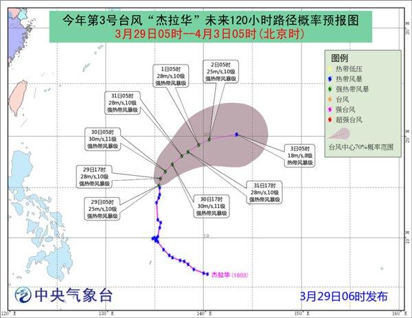 台风杰拉华30日前后将向东北方向移动 未来对我国无影响