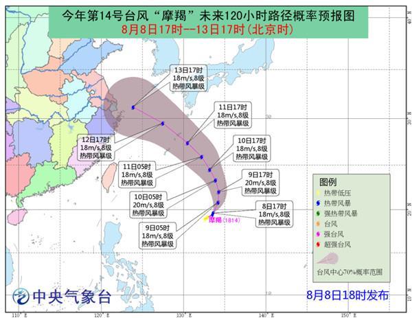"""台风""""摩羯""""强度变化不大 11日夜间进入东海东部"""