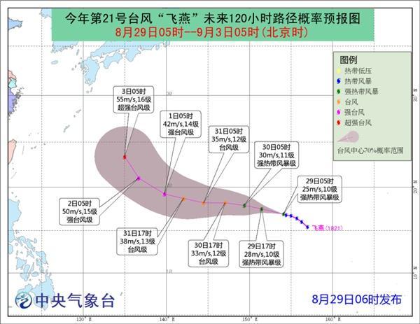 """台风""""飞燕""""加强为强热带风暴 未来五天对我国无影响"""