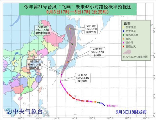 """台风""""飞燕""""4日上午将在日本登陆"""