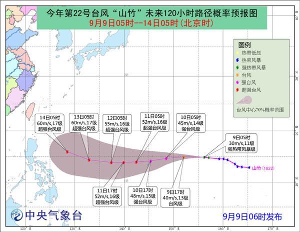 """""""山竹""""加强为强热带风暴级 未来五天对我国暂无影响"""
