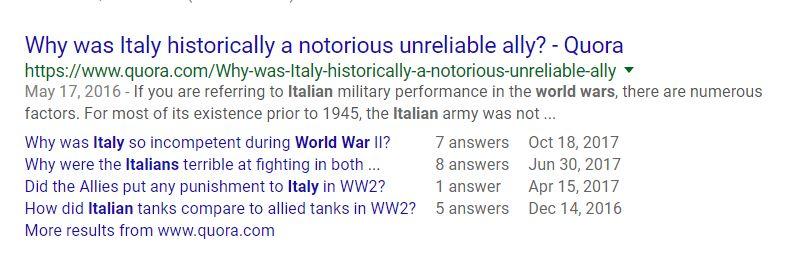 """(图为境外网友在境外问答文章上提问""""为啥意大利在历史上是个如此不靠谱的盟友?"""")"""