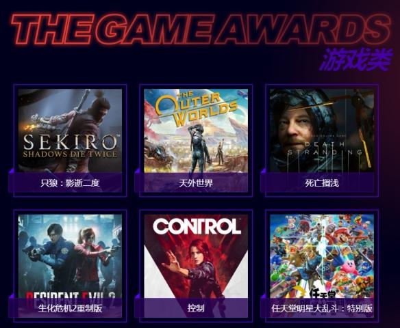 TGA2019年度游戏提名