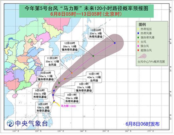 """今年第5号台风""""马力斯""""强度渐强 最大可达台风级"""