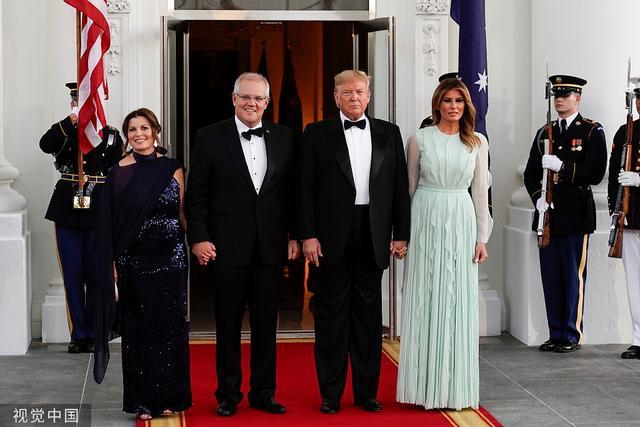 美国总统特朗普设国宴款待到访澳大利亚总理夫妇