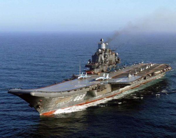"""资料图片:俄海军""""库兹涅佐夫海军元帅""""号航母。"""