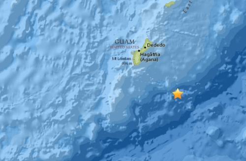关岛附近地区发生两次5级以上地震 无海啸消息