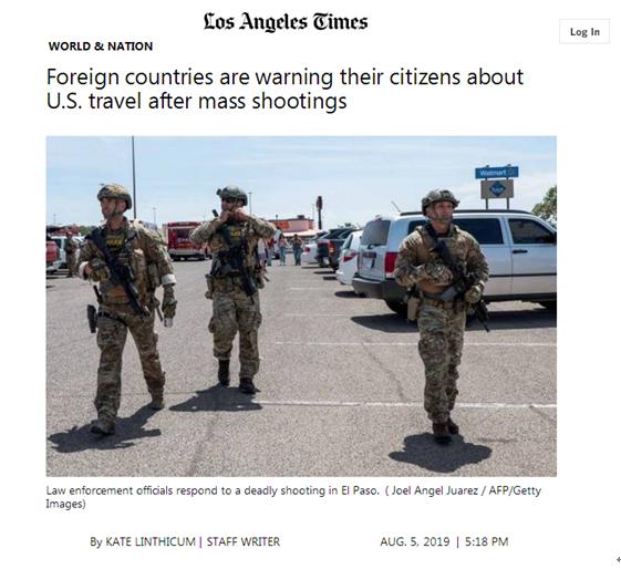 枪击案频发 乌拉圭委内瑞拉等多国发赴美旅游警告|委内瑞拉