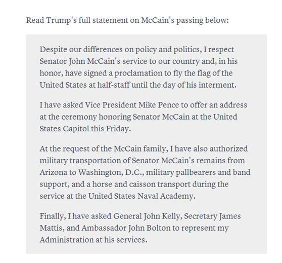 特朗普没有顶住外界批评 同意为麦凯恩去世降半旗