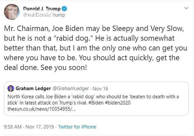 """特朗普为被朝鲜骂成""""疯狗""""的拜登辩护:比那稍好点 还催金正恩再见"""
