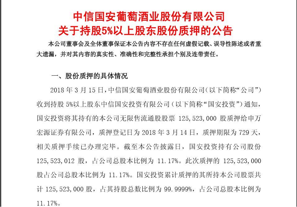 国产葡萄酒窘境:中葡股份巨亏 国安投资质押全部股票