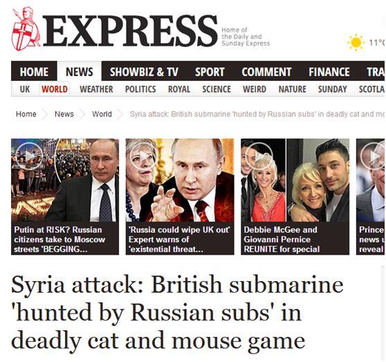 英媒:英核潜艇遭俄军围堵 未能发射导弹打击叙利亚