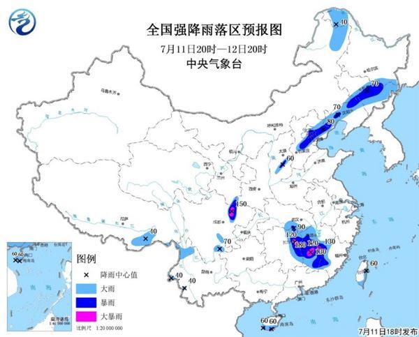 暴雨黄色预警:湖南江西等13省市有大到暴雨