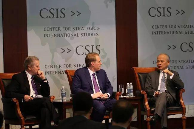 """▲2018年5月11日,美国战略与国际问题研究中心(CSIS)举办""""中美关系40年""""研讨会,崔天凯大使应邀出席。"""