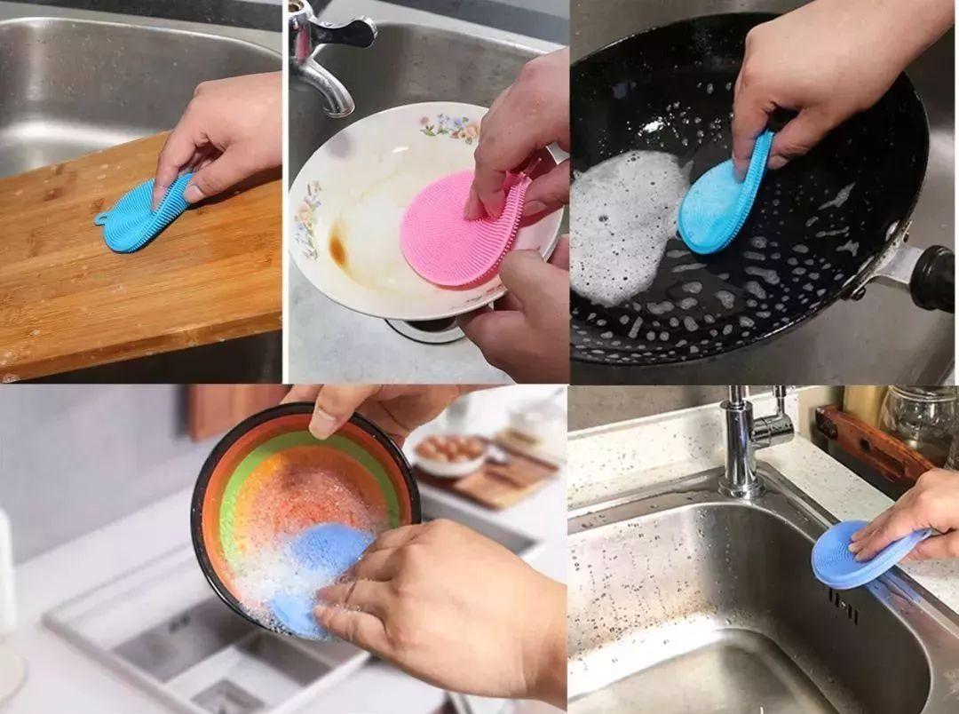 """""""长""""了N根毛的硅胶洗碗刷,不发霉不发臭,油污一扫而光"""