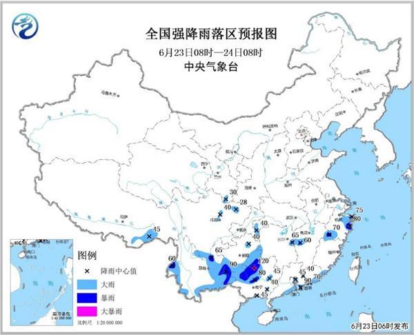 暴雨蓝色预警:广东广西四川等地部分地区有大雨或暴雨