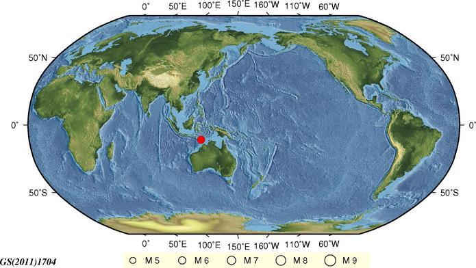 8月28日15时8分帝汶海发生6.3级地震