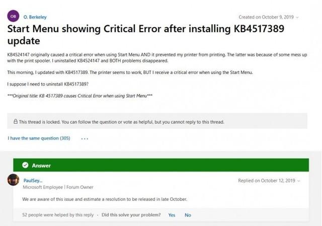 微软承认Win10开始菜单问题 承诺本月修复
