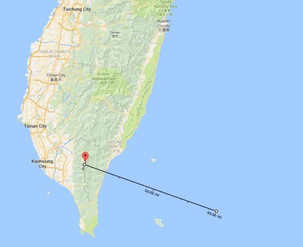 从上一照片可能的拍摄地点望向北太武山,其中最南端即为恒春半岛