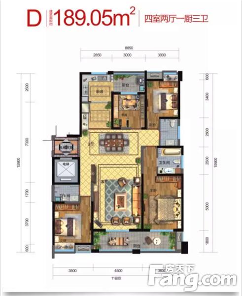 实用型全明三居室户型,空间布局紧凑,分寸必用,利用率高 南向客厅